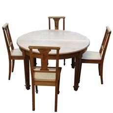 Franse Art Deco Tafel met 6 stoelen
