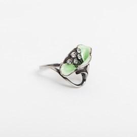 Klaproos Emaille Groen Ring
