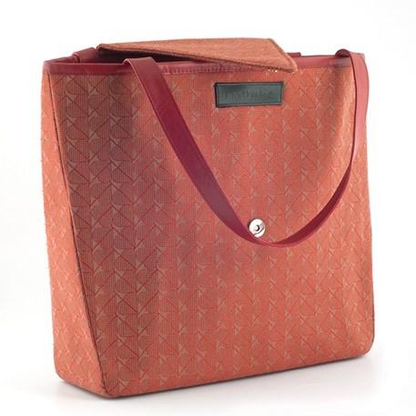 Handtas Design Nathalie Rode Hartjes voorzijde met open flap