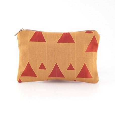 Etui van Art Deco stof met piramidemotieven in oranje en rood