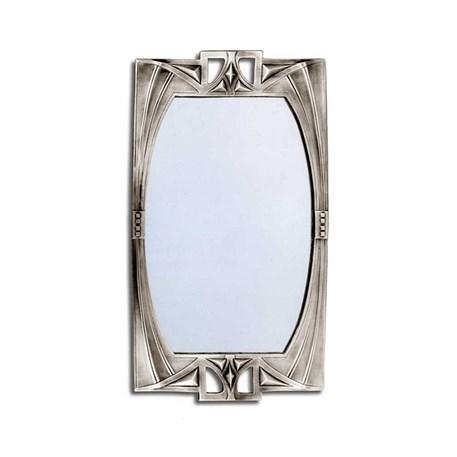 Geometrische Art Nouveau spiegel van edeltin in klein formaat