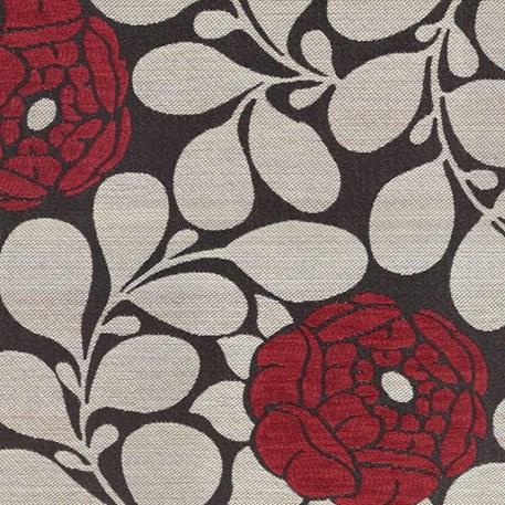 Meubel/Gordijnstof Pioenroos in zwart/rood