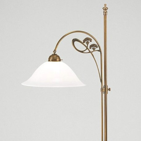 Staande Lamp Jugendstil in brons met wijde glaskap
