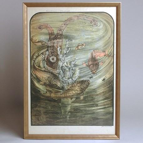 Gesigneerde Kleurenlitho Jan Schonk - Spiegelkarpers en Watertorren