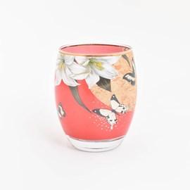 Theelicht Lelies en Vlinders Rood