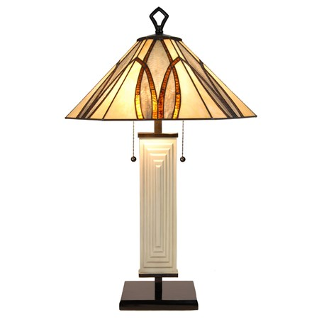 Tiffany Art Deco Tafellamp Round & Square Aan