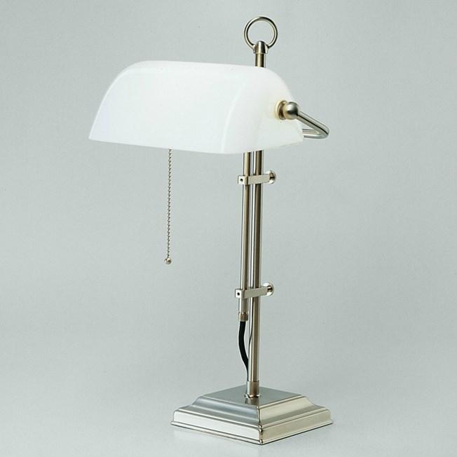 Banker Lamp Modern Mat Nikkel   Opaal Wit