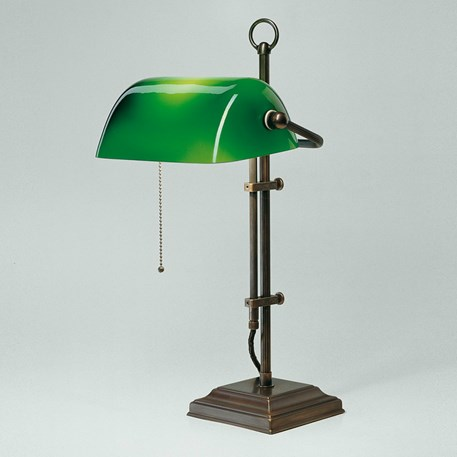 Banker Lamp Classic Square   Verstelbaar   Brons en Groen