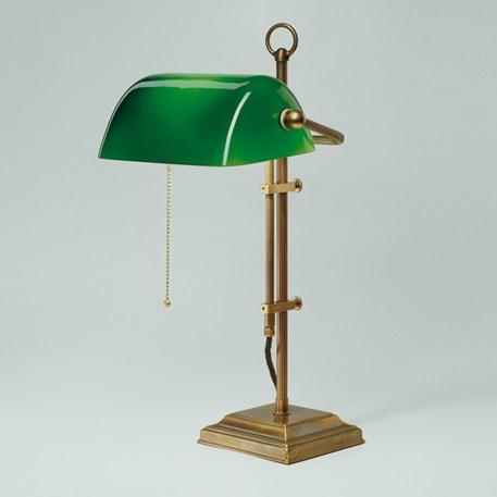 Banker Lamp Classic Square   Verstelbaar   Messing en Groen