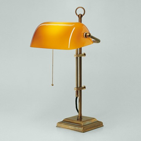 Banker Lamp Classic Square   Verstelbaar   Messing en Cognac