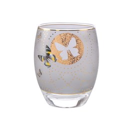 Theelicht Golden Butterflies Grey