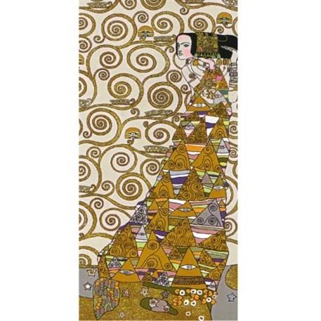 Naar links kijkende dame Wandkleed/Gobelin Klimt De Verwachting Licht