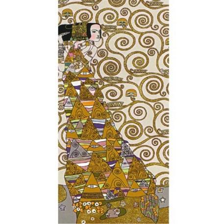 Naar rechts kijkende dame Wandkleed/Gobelin Klimt De Verwachting Licht