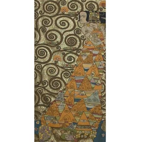 Naar links kijkende dame Wandkleed Klimt De Verwachting Goud