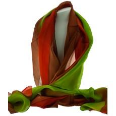 Zijde Sjaal Oranje en Groen