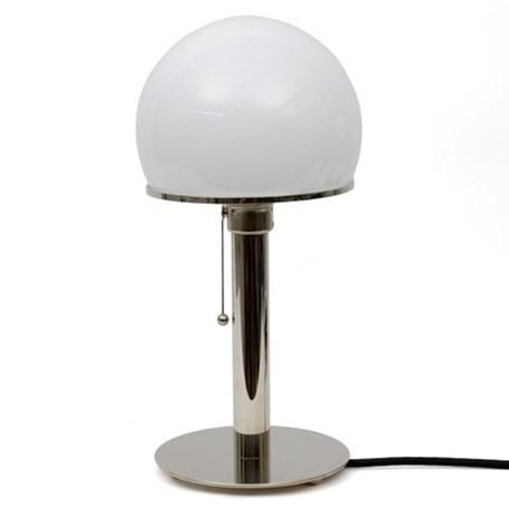 Bauhaus Tafel lamp/Bureau lamp met nikkelen voet en nikkelen poot