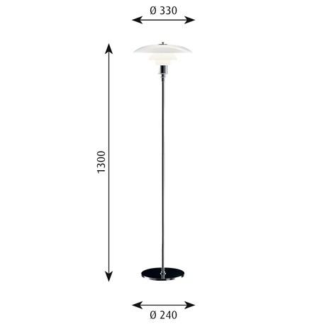 Afmetingen Louis Poulsen PH 3½-2½ Staande Lamp