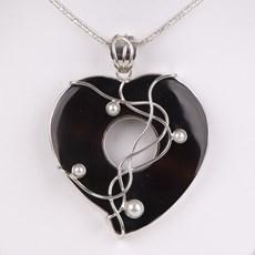 Zilveren Hanger Black Pearl