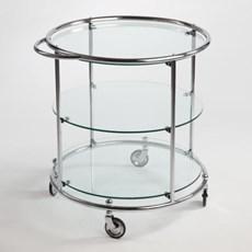 Tea-trolley met 3 Glasplaten op wielen