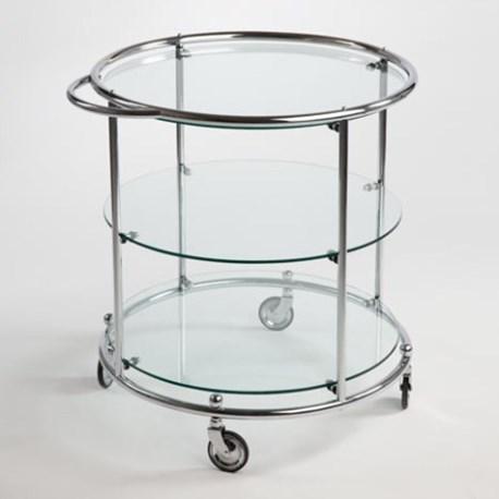 Theetafel Glas Chroom.Tea Trolley Met 3 Glasplaten Op Wielen