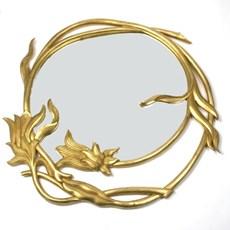 Houten Art Nouveau Spiegel Merveilleux Rond