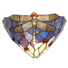 Wandlamp Tiffany Libelle blauw