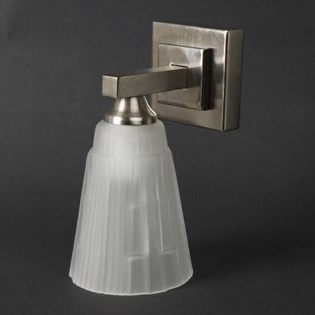 Badkamerlamp Dubplo enkel met matnikkel armatuur en glaskap Blois Geetst