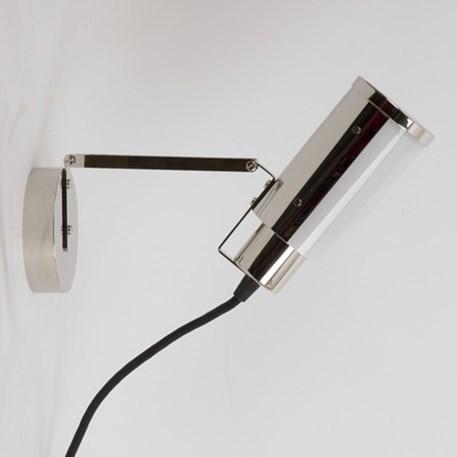 Multifuncionele lamp met snoer, stekker en draaischakelaar. Hier afgebeeld als wand/schilderijlamp.