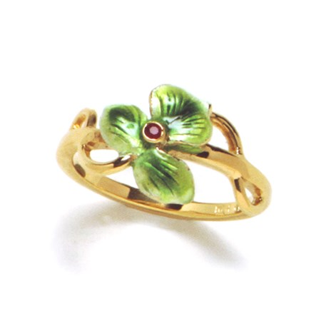 Ring Emaille Ruby Verguld