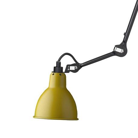 Plafondlamp/spot La Lampe Gras matzwart met een gele kap