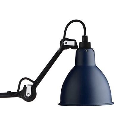 La Lampe Gras Souples matzwart gelakt en een blauwe kap