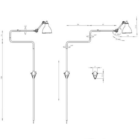 Afmetingen en draairichtingen La Lampe Gras Souples