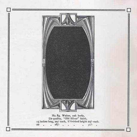 Origineel ontwerp van de geometrische Art Nouveau spiegel voor de Duitse fabriek WMF