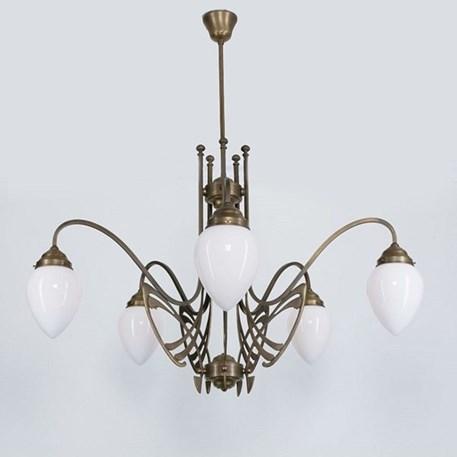 Victor Horta Kroonluchter Elegantie met opaal witte glaskappen