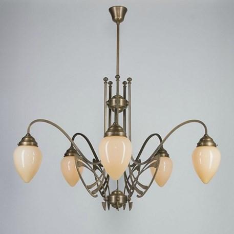 Victor Horta Kroonluchter Elegantie met ivoorkleurige glaskappen