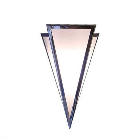 Wandlamp punt middel in glanzend nikkel met opaal geëtst glas